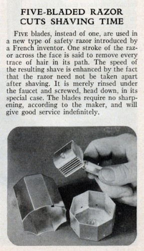 FIVE-BLADED RAZOR CUTS SHAVING TIME (Jul, 1933)